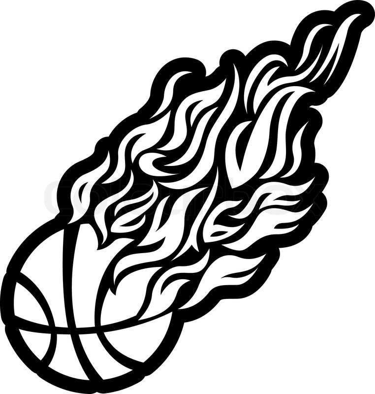 Vector flame fire ball black basketball symbol icon for Black and white flame tattoo