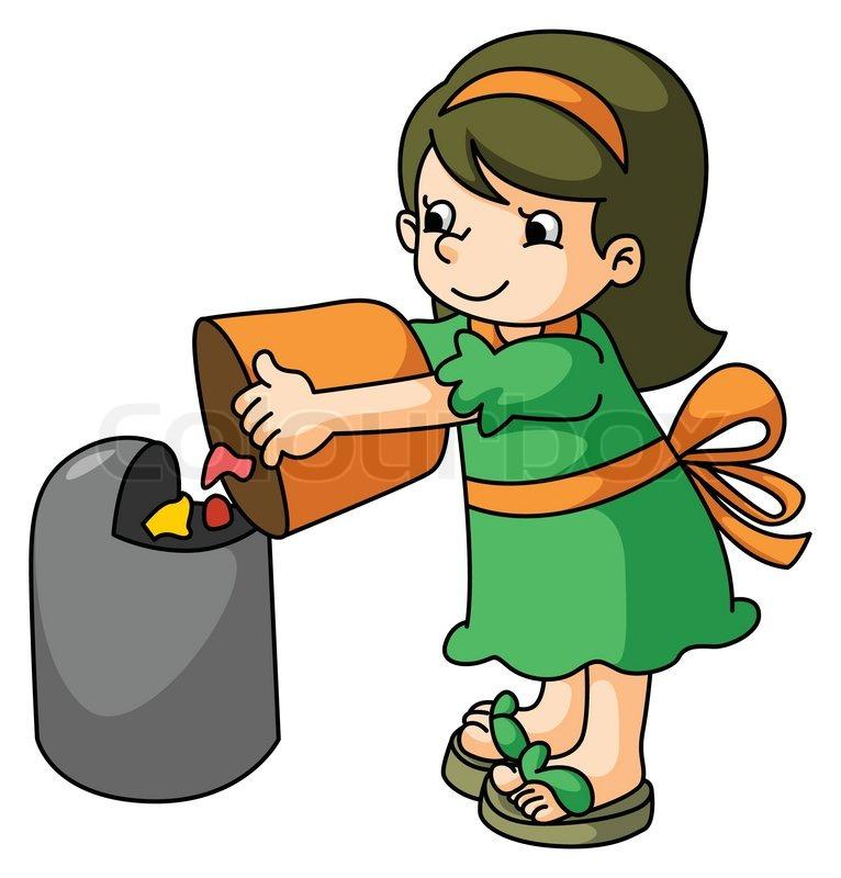 Girl throw the trash | Stock Vector | Colourbox