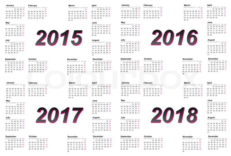 yearly calendar 2015 2018 2018