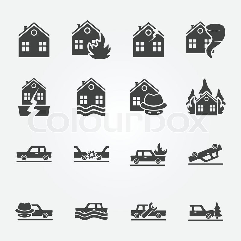 Insurance Icons Vector Set Natural Disaster Home And Auto