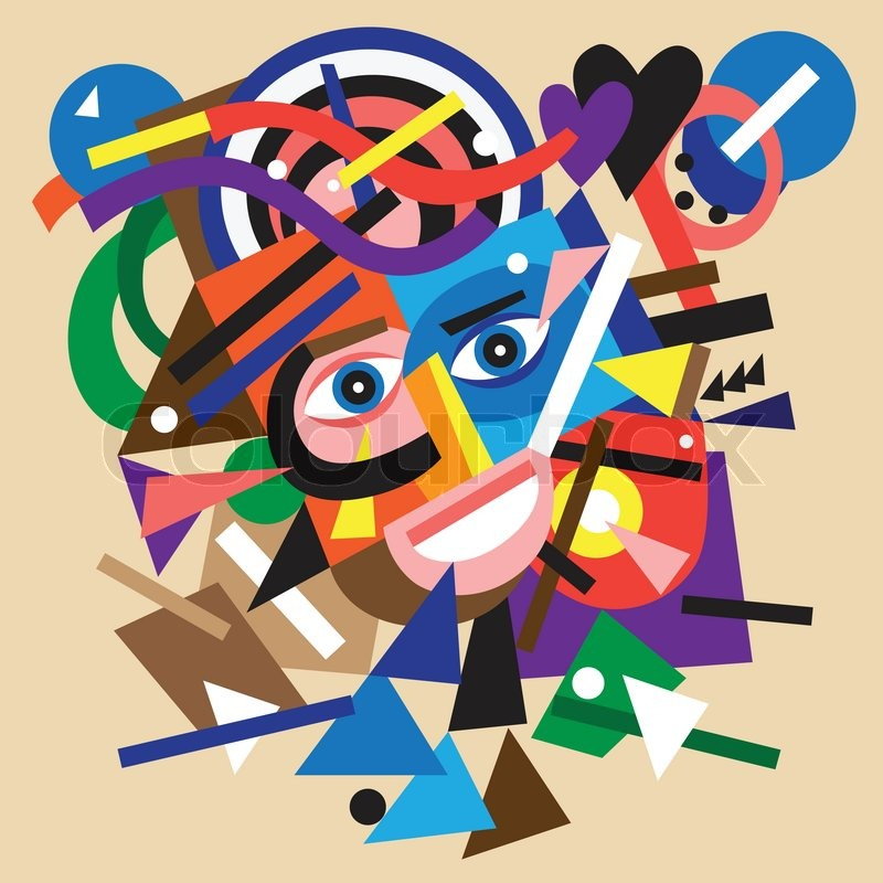 Abstract Face Colourful Vector Cartoon With Geometric