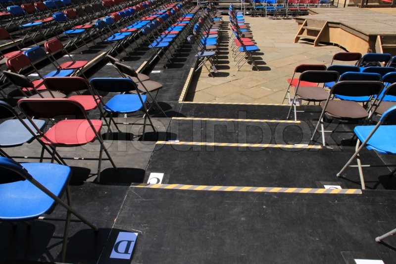 Composition of the folding chairs in the open air in summertime, stock photo