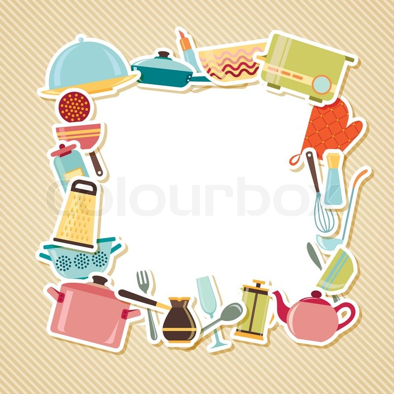 Kitchen Utensils Background kitchen utensils, appliances and cookware on striped background