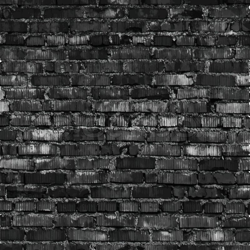 Brick Wall Black Relief Texture With Shadow Vector Background Illustration