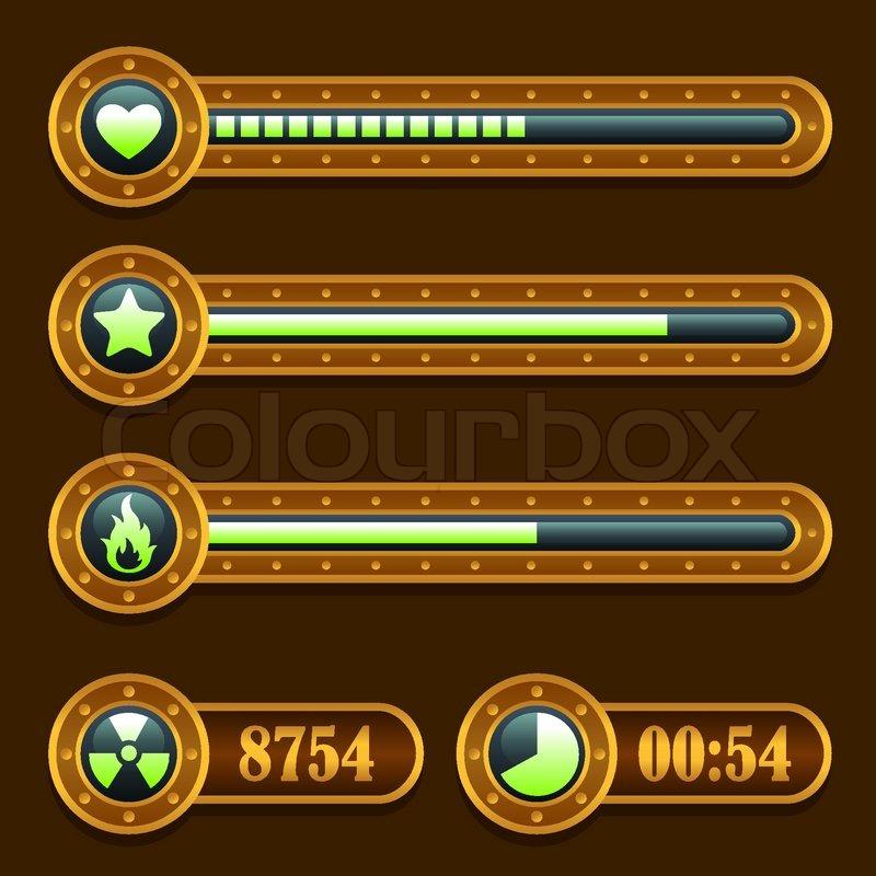 Game Steampunk Energy Time Progress Bar Icons Set Ui