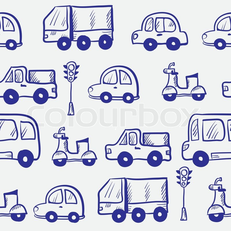vector blue hand drawn doodle cartoon cars seamless pattern stock