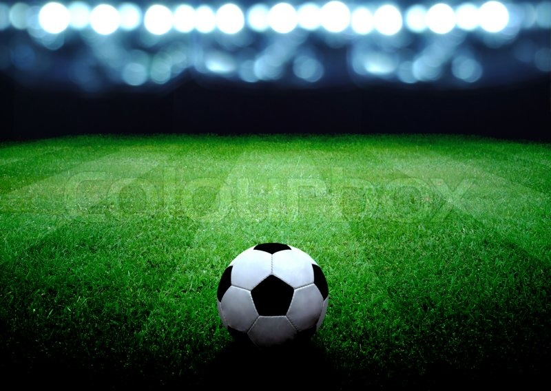 Soccer field and the bright lights, stock photo