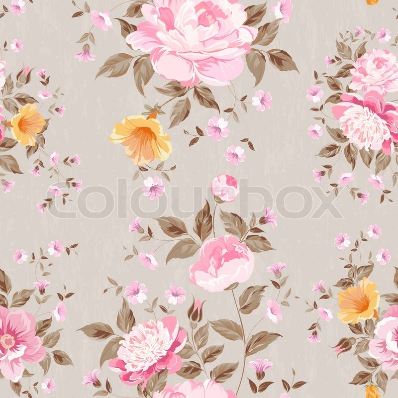 Luxurious peony wallapaper in vintage style. Vector illustration, vector