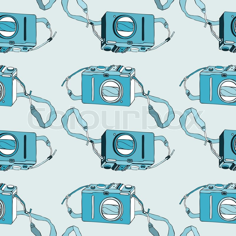 Photo Camera Retro Seamless Background Hand Drawn Pattern Vector