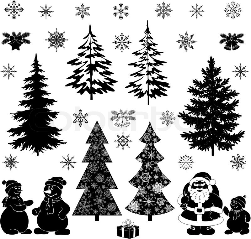 Christmas Cartoon Set Black Stock Vector Colourbox