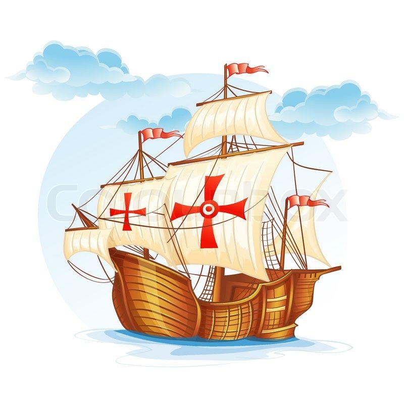 Sailing Ship Cartoon Cartoon Image of a Sailing Ship of Spain xv Century Vector