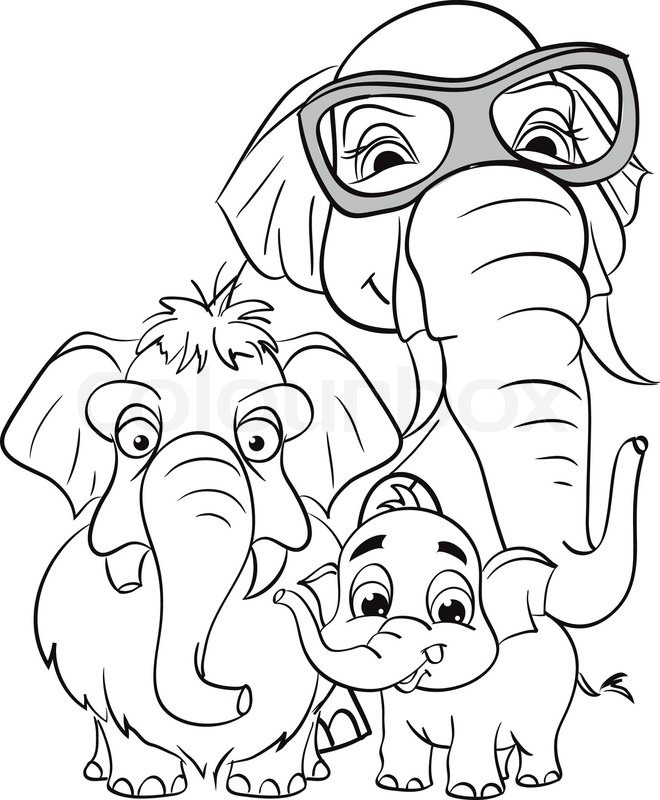 Elephant Drawing Outline Outline Drawing of The Family of Elephants Vector