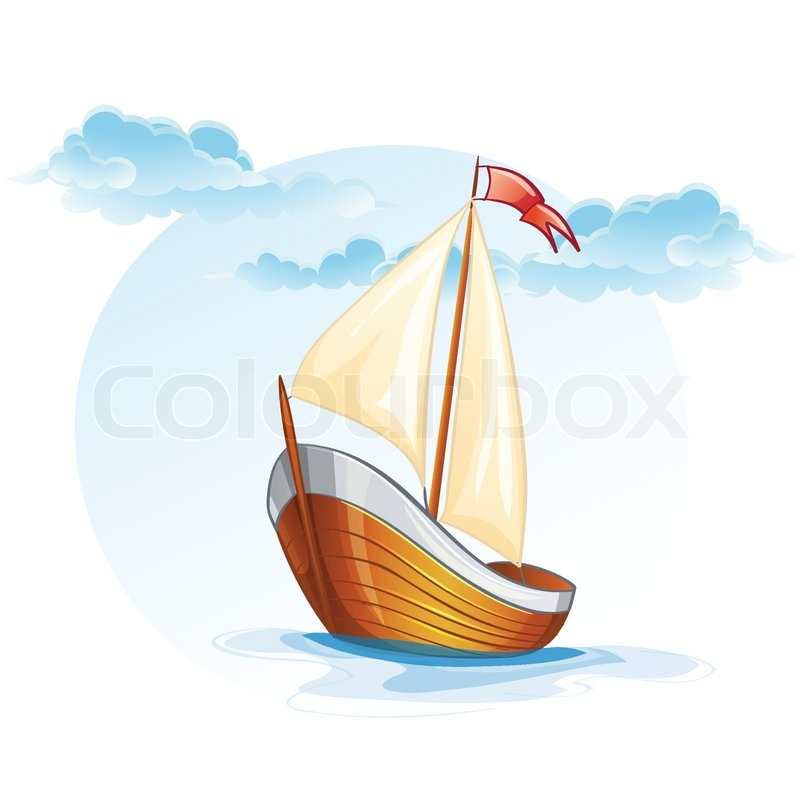Sailing Boat Cartoon Cartoon Image of a Wooden Sailing Boat Vector
