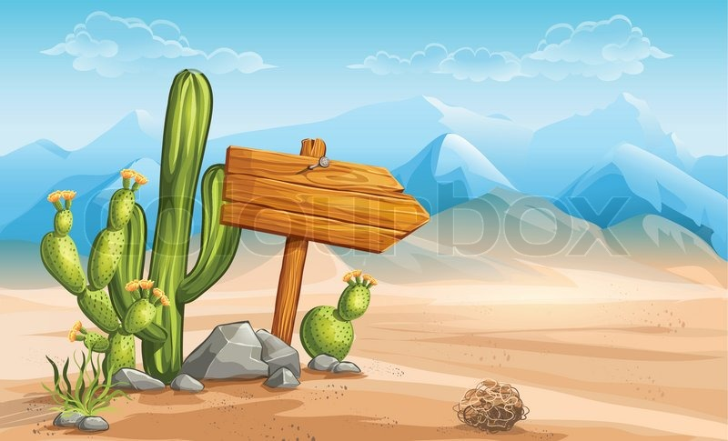 A wooden sign in the desert mountains in the background, vector