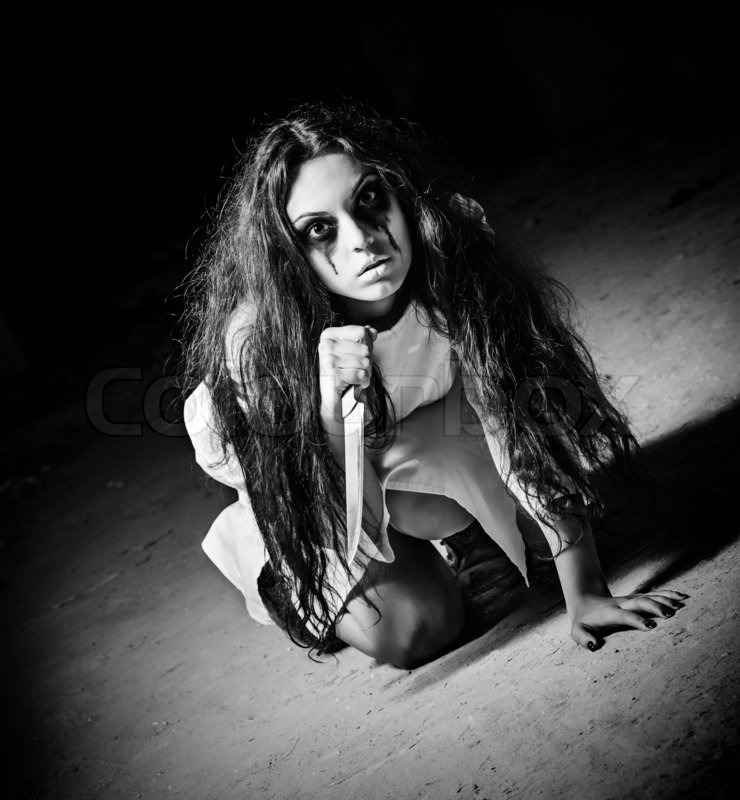 horror shot a scary monster girl with stock photo
