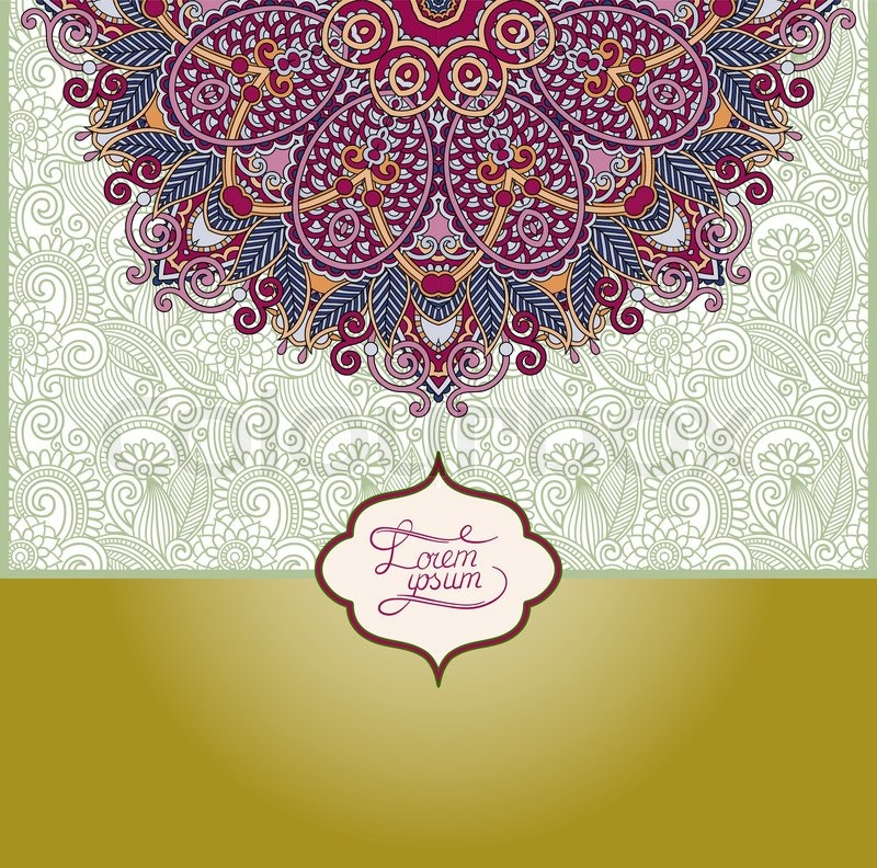 Islamic vintage floral pattern template frame for greeting card or islamic vintage floral pattern template frame for greeting card or wedding invitation in east style with place for your text vector illustration vector stopboris Choice Image