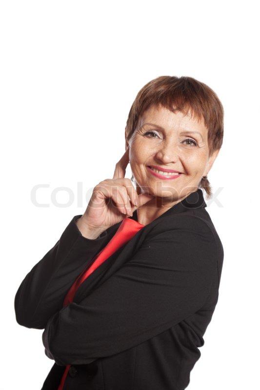 Mature Businesswoman Pointing Closeup Portrait High