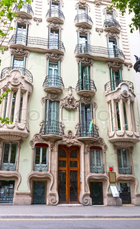 House with balconies, European architecture, Barcelona , stock photo