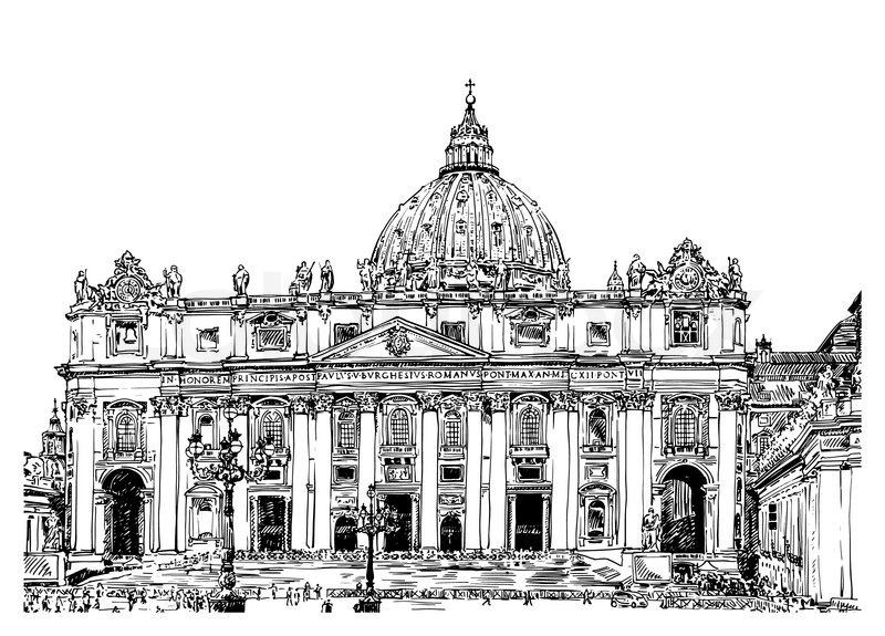 Front Elevation 20 30 : St peter s cathedral rome vatican italy hand drawing