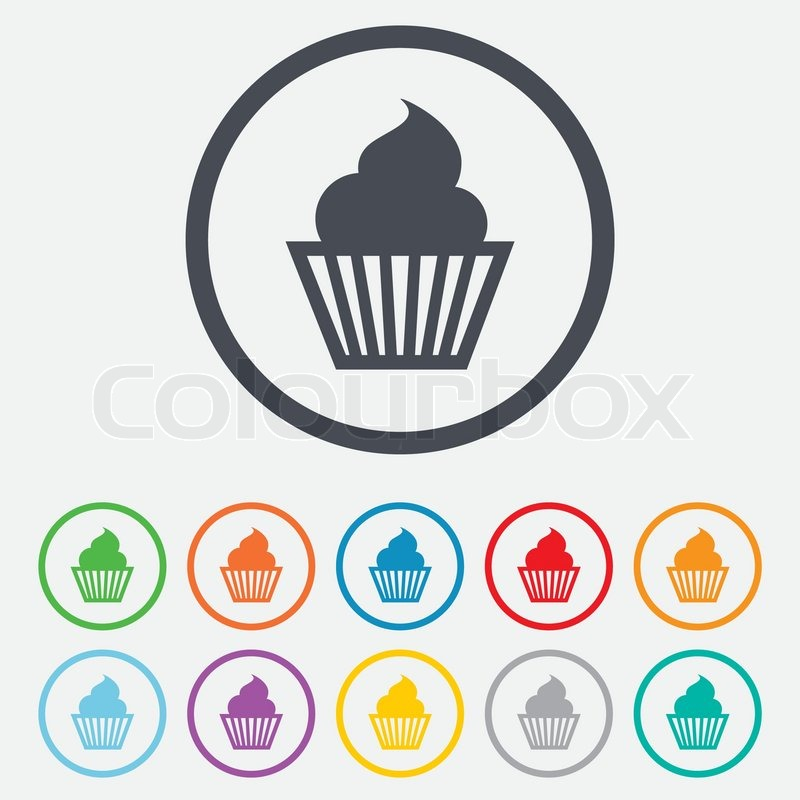 Muffin Sign Icon Cupcake Symbol Round Circle Buttons With Frame Vector Stock Vector Colourbox