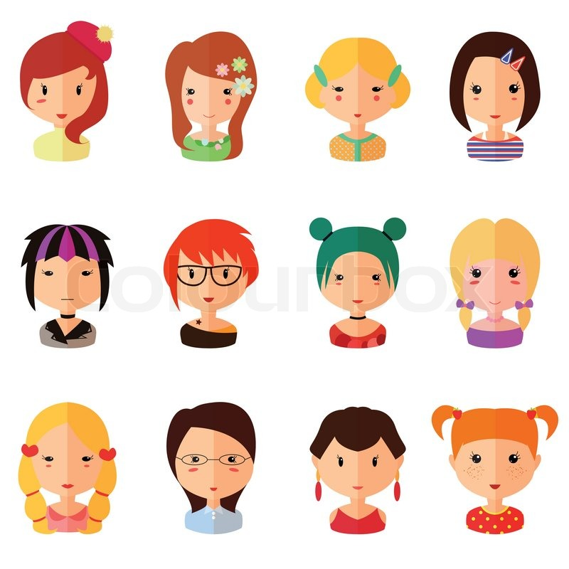 Vector Set Of Cartoon Avatar Flat Girls Icons Isolated On