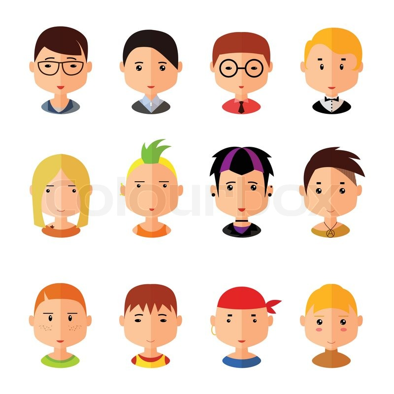 Stock Vector Of Vector Set Cartoon Avatar Flat Boy Icons Isolated