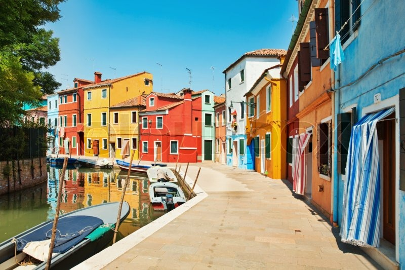 Colorful Houses By The Water Canal At Stock Photo