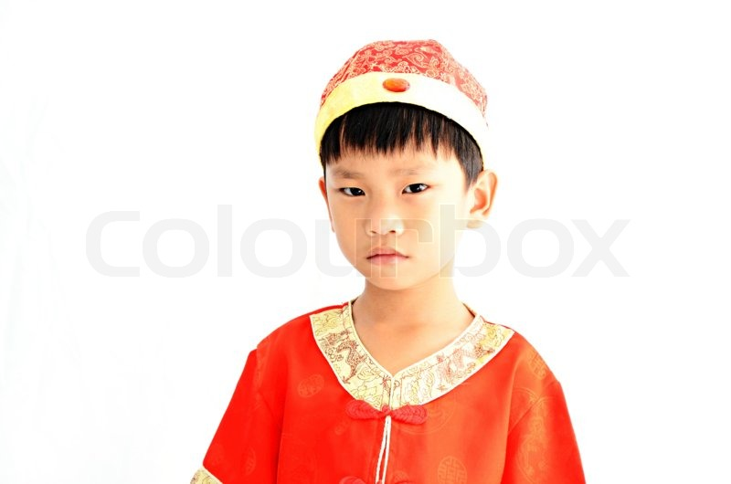 China boy in traditional chinese red tang suit greeting stock china boy in traditional chinese red tang suit greeting stock photo m4hsunfo