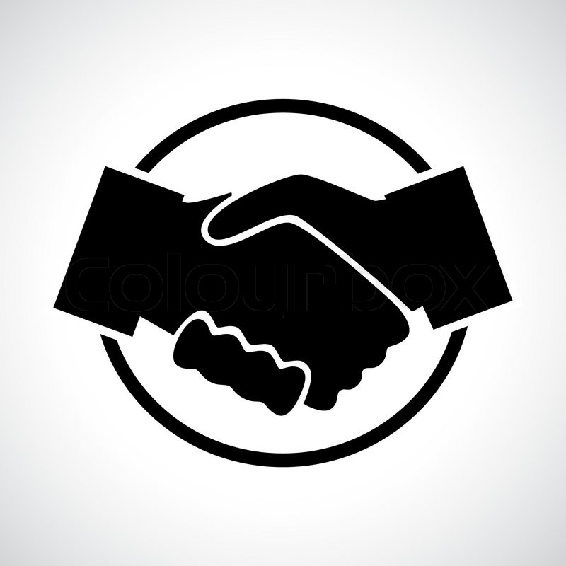 handshake black flat icon in a circle business agreement meeting rh colourbox com shaking hands vector image shaking hands vector free download