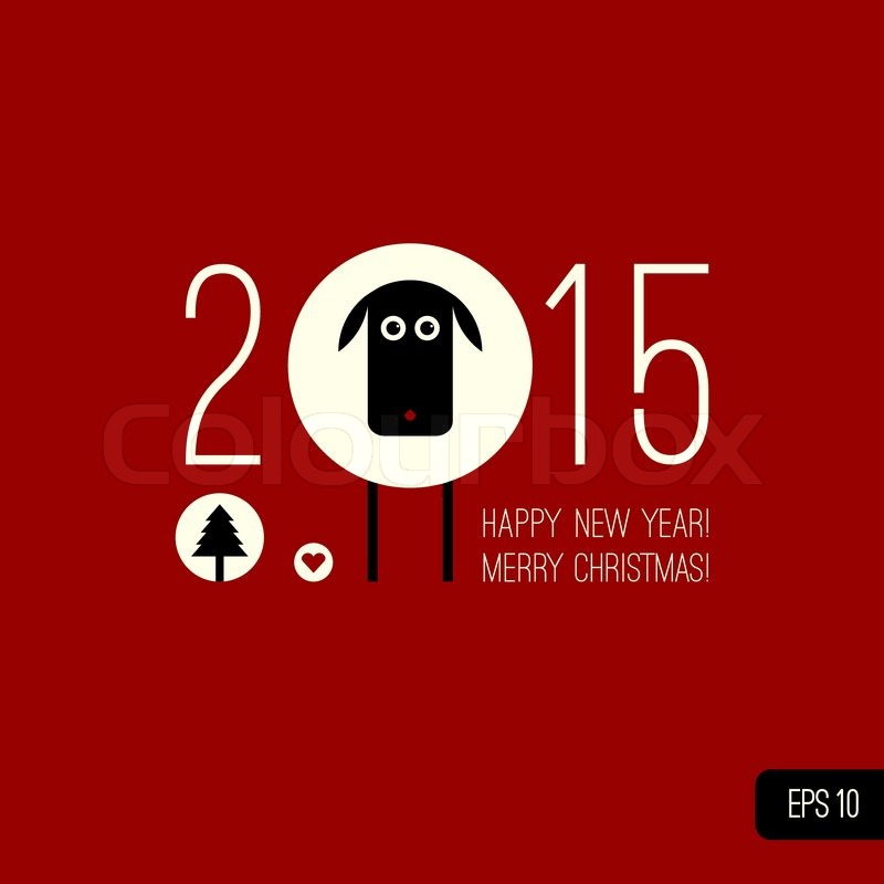 Vector Sheep Christmas Tree Heart Icons Illustration In Flat Style Merry Design Element Happy New Year Background