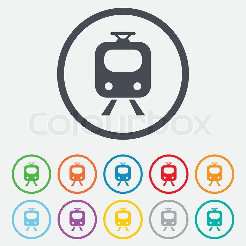 Subway Sign Icon Train Underground Symbol Round Circle Buttons