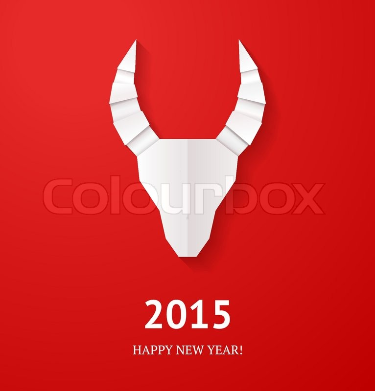 Origami Goat On Red Background New Year Card Or Background Stock