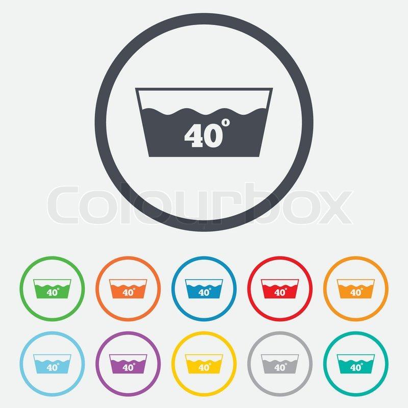 Wash Icon Machine Washable At 40 Degrees Symbol Round Circle