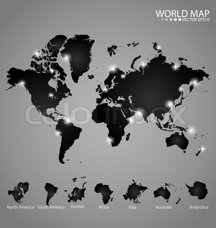 Modern world map with continents atlas north america south america modern world map with continents atlas north america south america europe africa asia australia antarctica vector illustration vector gumiabroncs Image collections