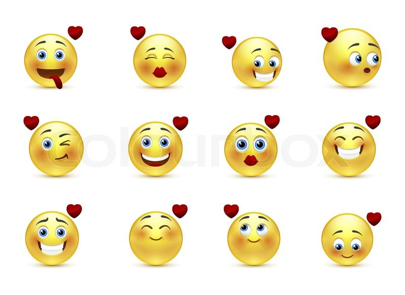 Set beauty valentine emoticons in love | Stock vector