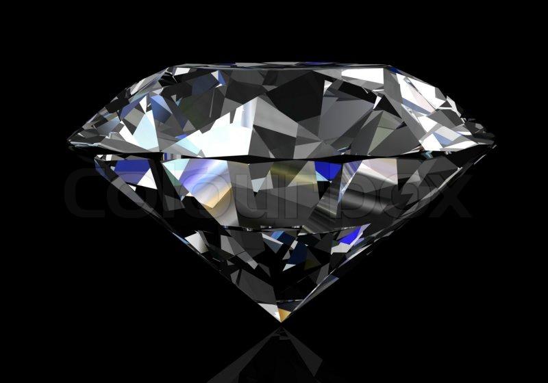 Diamond on black background (high resolution 3D image ...