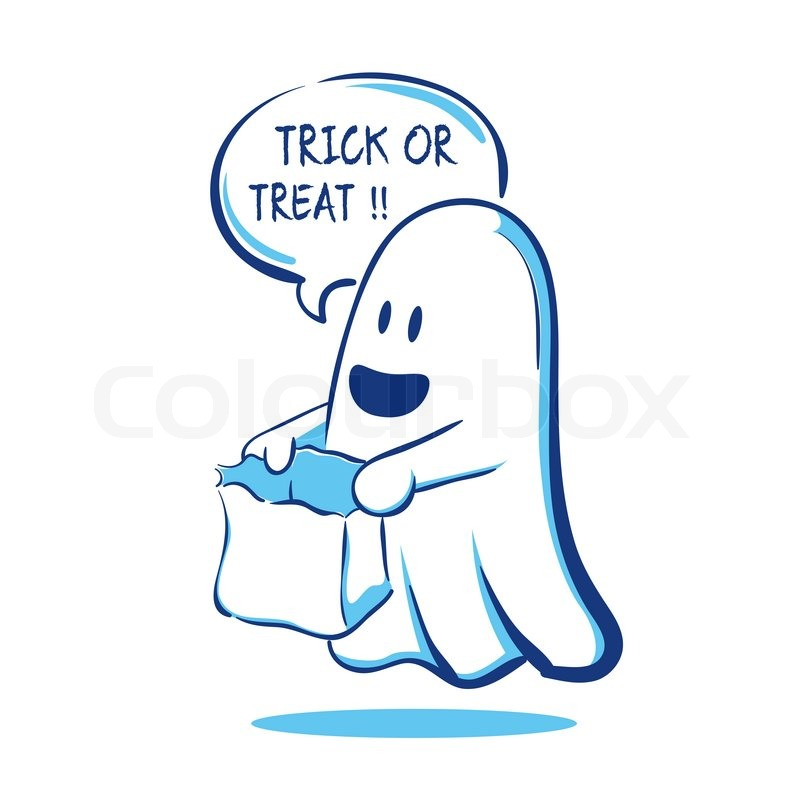 Vector illustration of a ghost saying ... | Stock vector ...