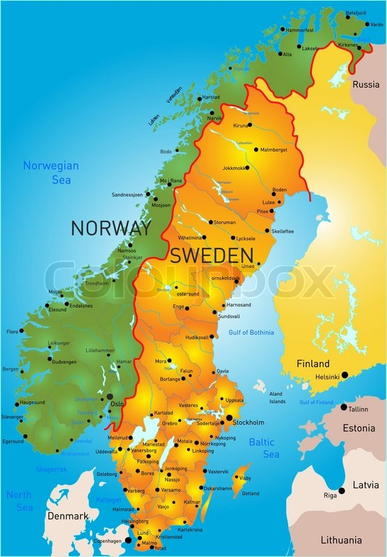 Vector Color Map Of Sweden Country Stock Vector Colourbox - Sweden map halmstad