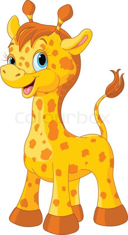 Illustration of little cute giraffe calf | Stock Vector ...