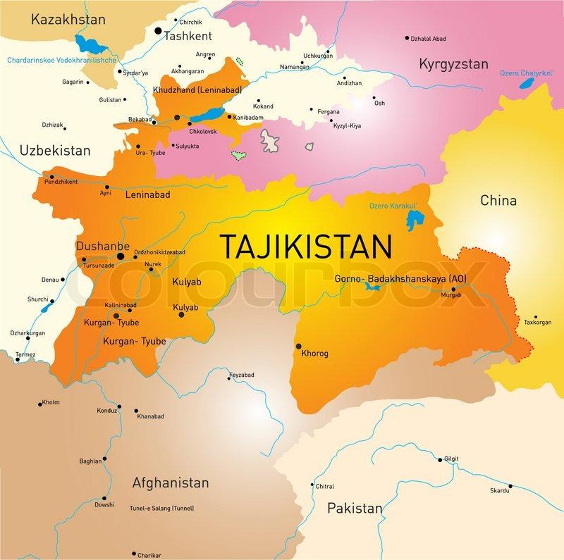 Vector Color Map Of Tajikistan Stock Vector Colourbox - Tajikistan map vector