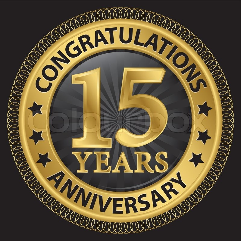 15 Years Anniversary Congratulations Gold Label With Ribbon Vector