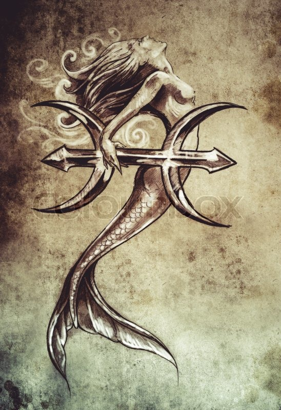 Tattoo Art Sketch Of A Mermaid Pisces Vintage Style