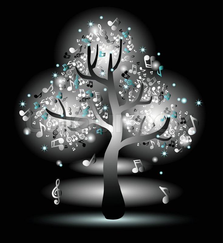 Monochrome Luminous Tree With Music Stock Vector