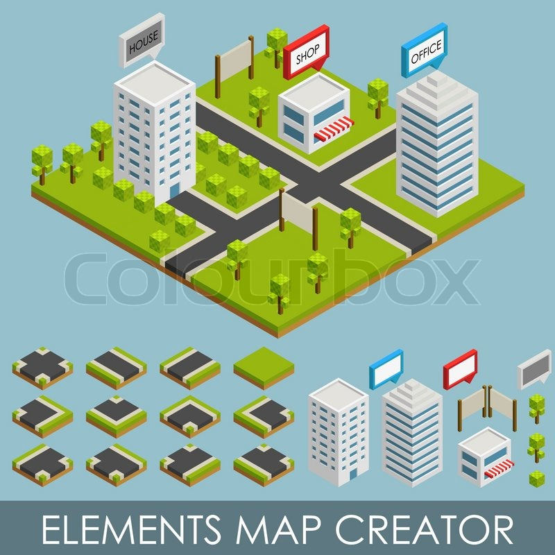 Map Creator.Isometric Elements Map Creator Vector Stock Vector Colourbox