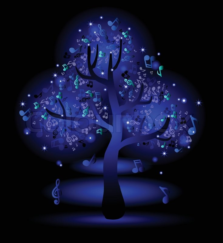 glowing blue tree with music notes