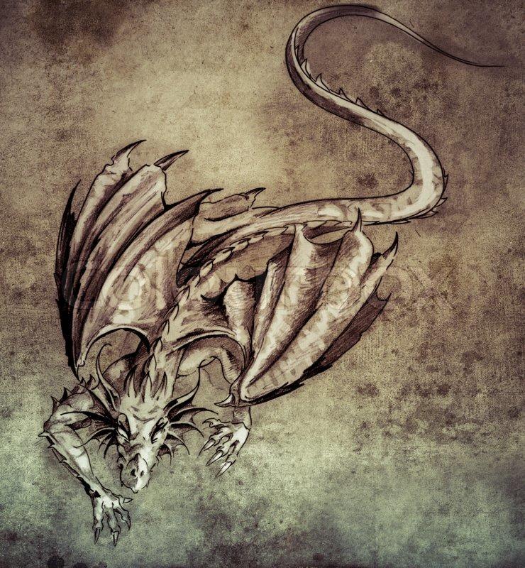 Sketch of tattoo art, modern dragon on vintage paper ...