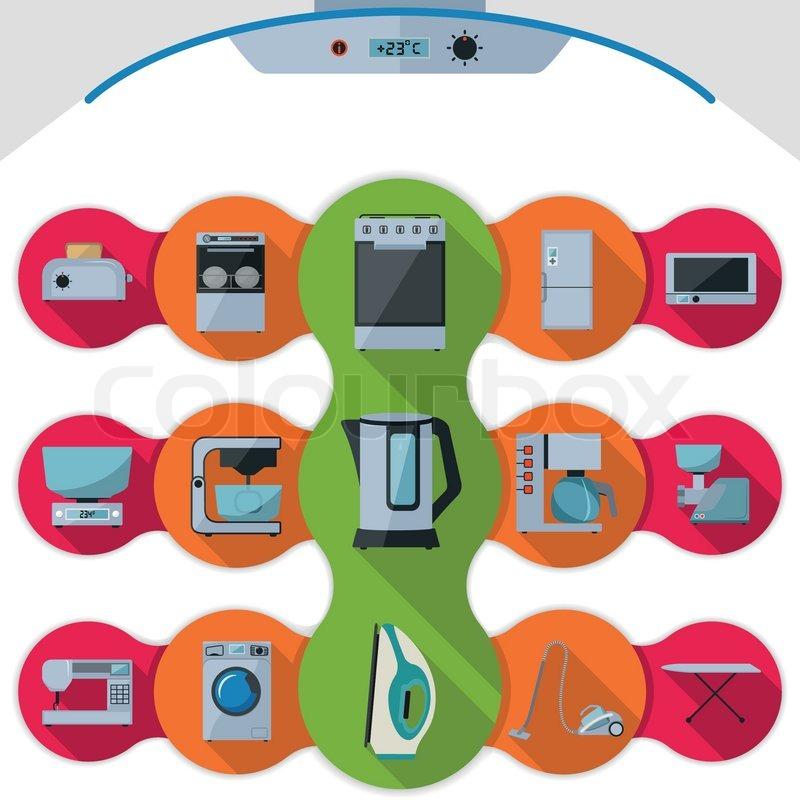 Zeichen, zusammenstellung, backofen  Vektorgrafik  Colourbox ~ Geschirrspülmaschine Zeichen