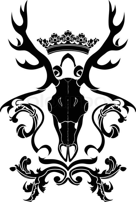 Emblem Heraldic Symbol With Deer Skull And Crown Stencil Stock