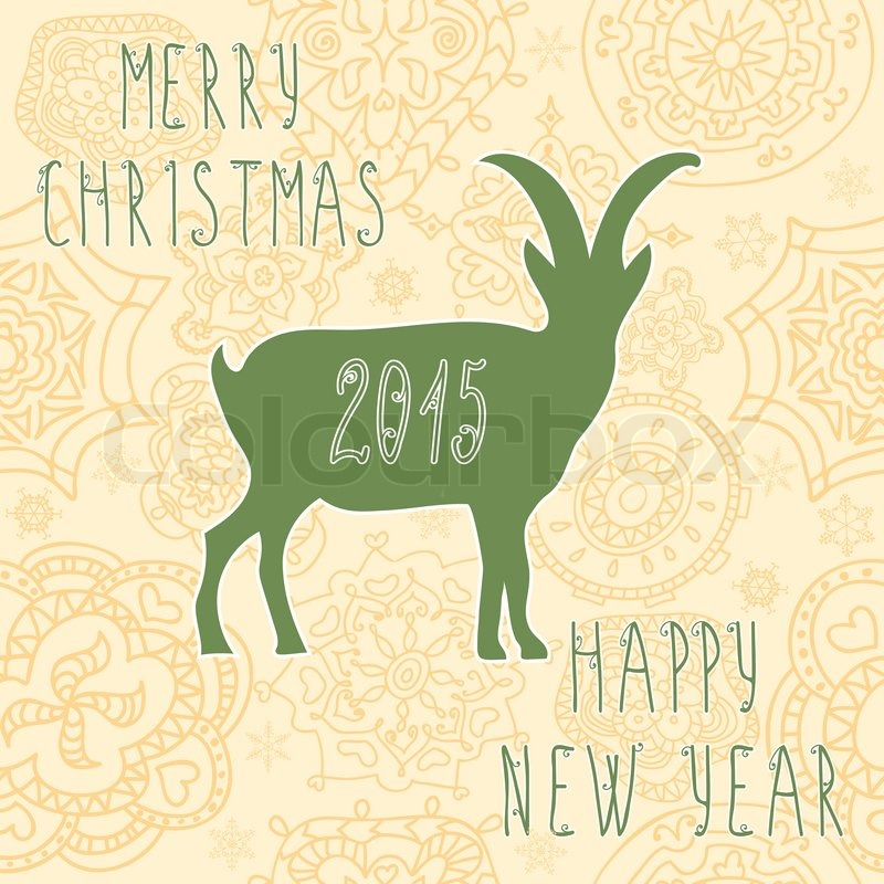 Greeting Card Chinese Symbol Vector Goat 2015 Happy New Year
