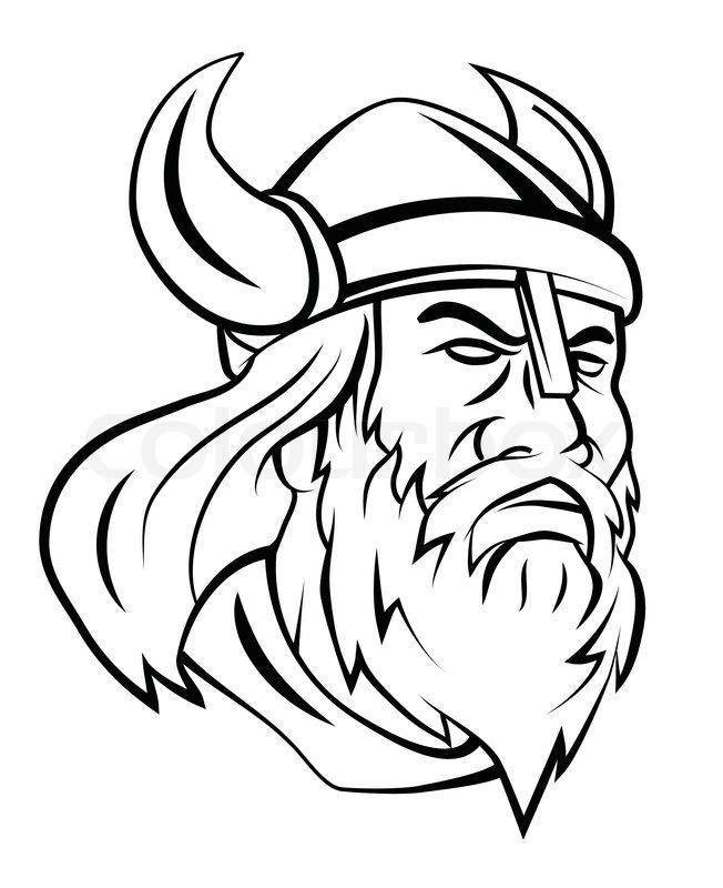 Viking Head Vector Illustration Stock Vector Colourbox
